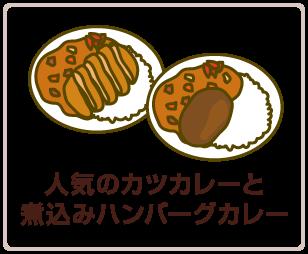 人気のカツカレーと煮込みハンバーグカレー